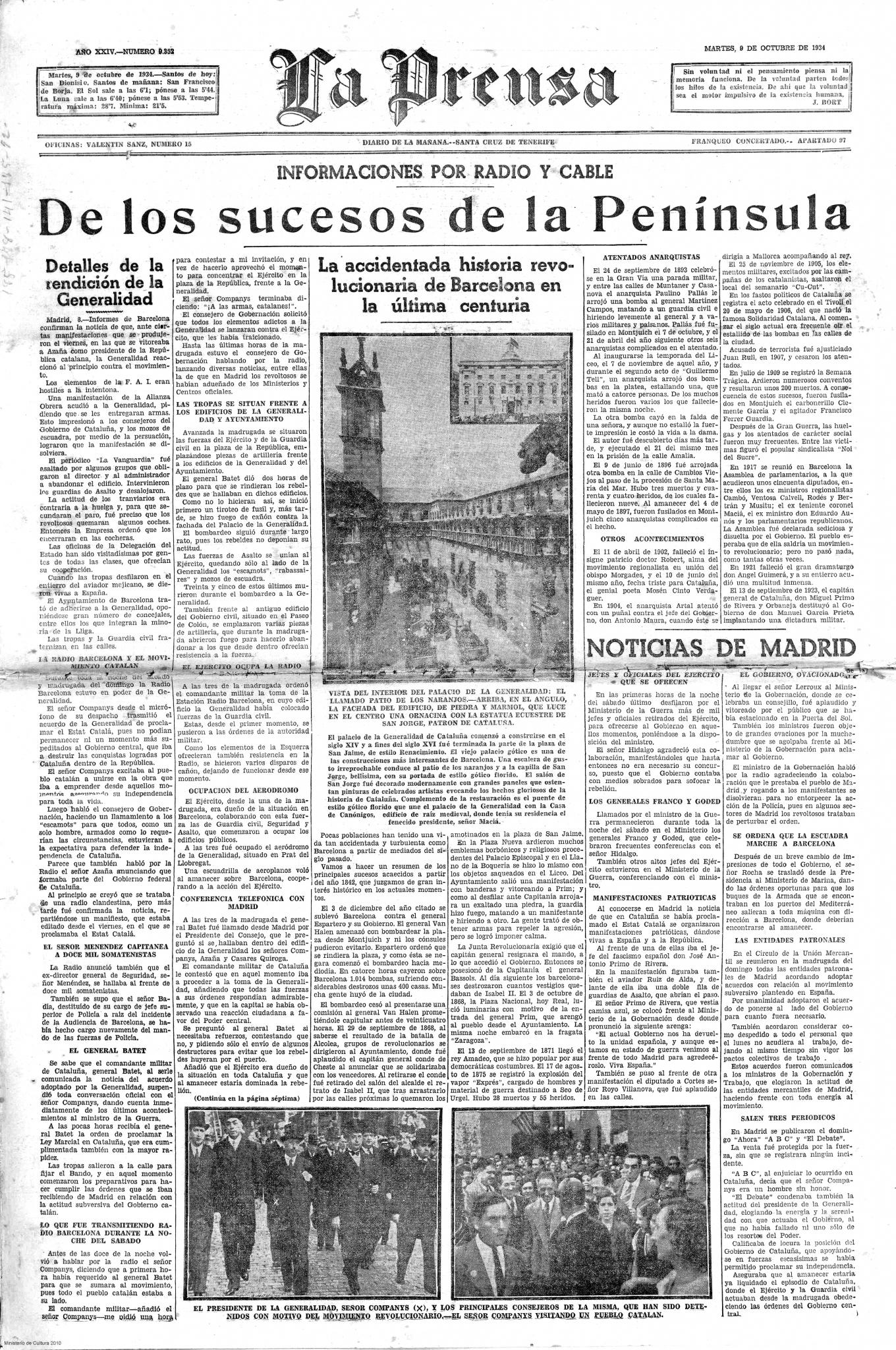 La Prensa, 9 de octubre de 1934.