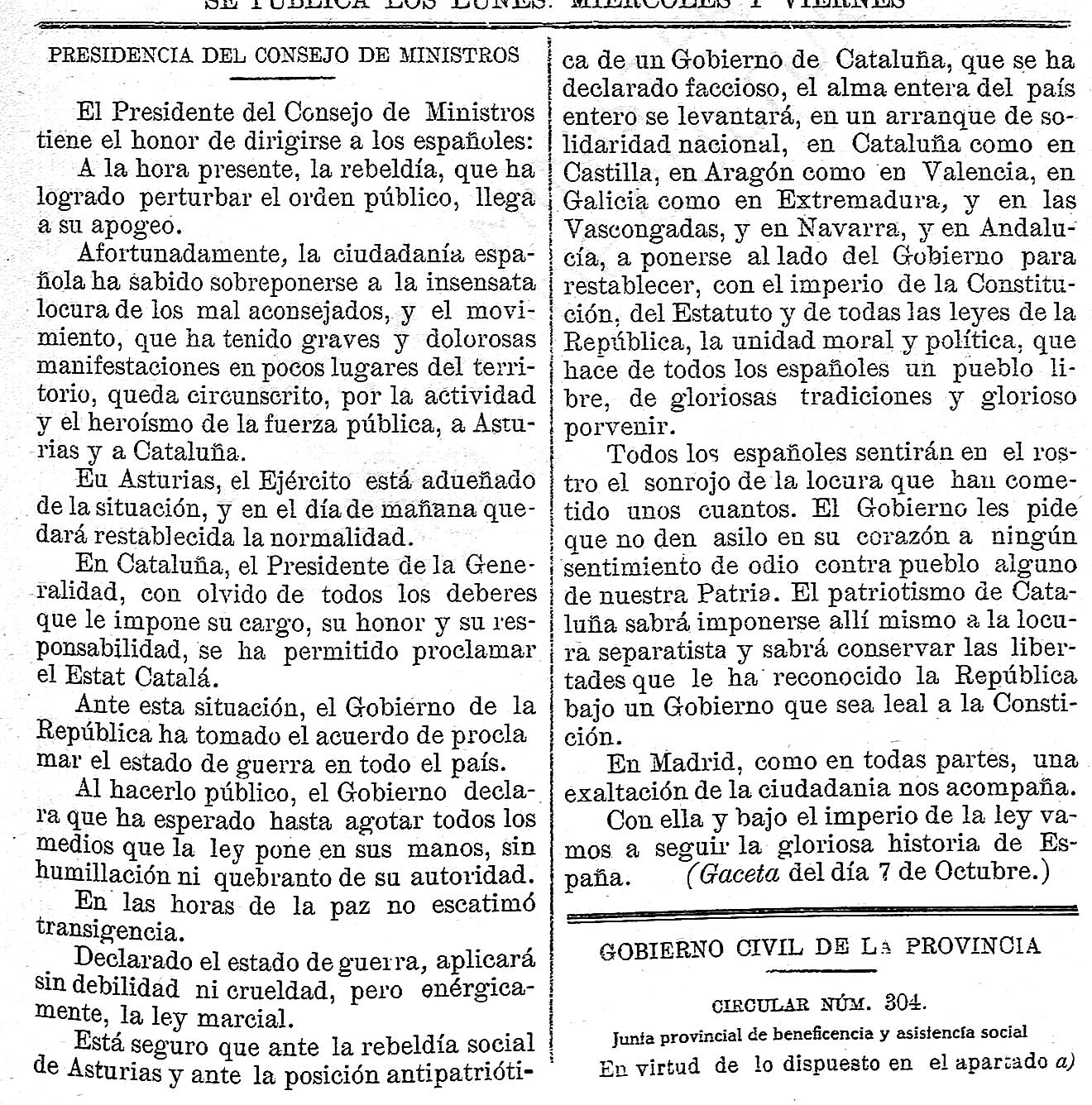 Boletín Oficial de la Provincia de Soria, 10 de octubre de 1934, p. 1.