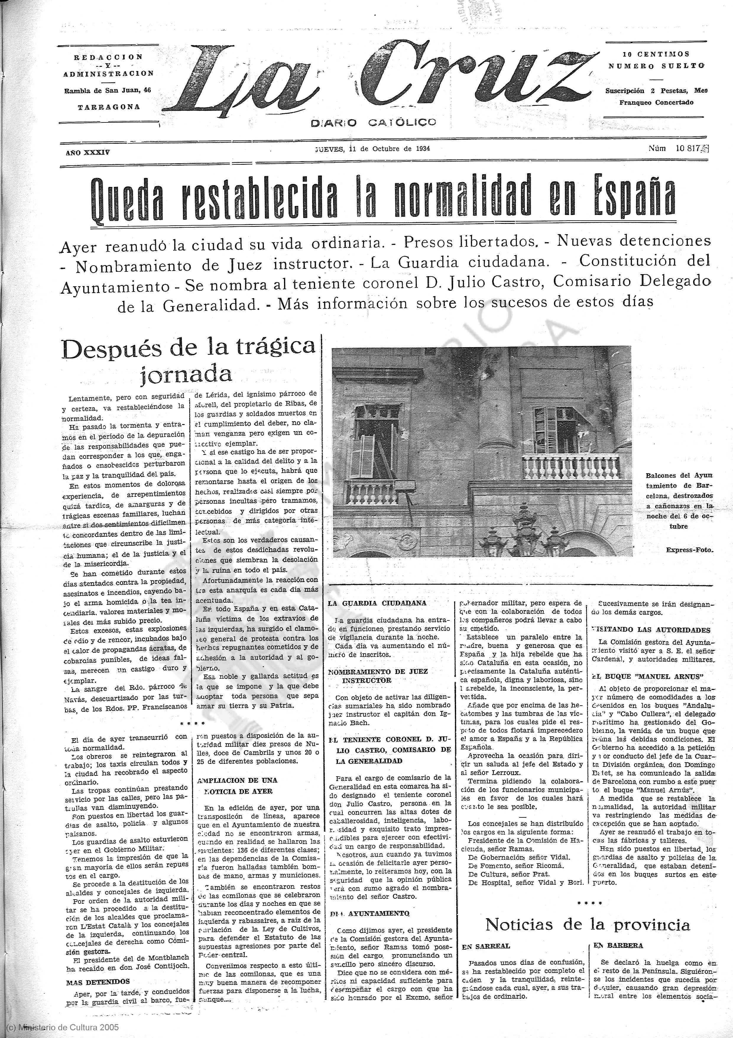 La Cruz, 11 de octubre de 1934, p. 1.