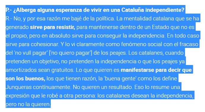 """López Tena, que inventó la campaña de """"España nos roba"""", considera que los catalanes tienen deseos pero no voluntad de independencia."""