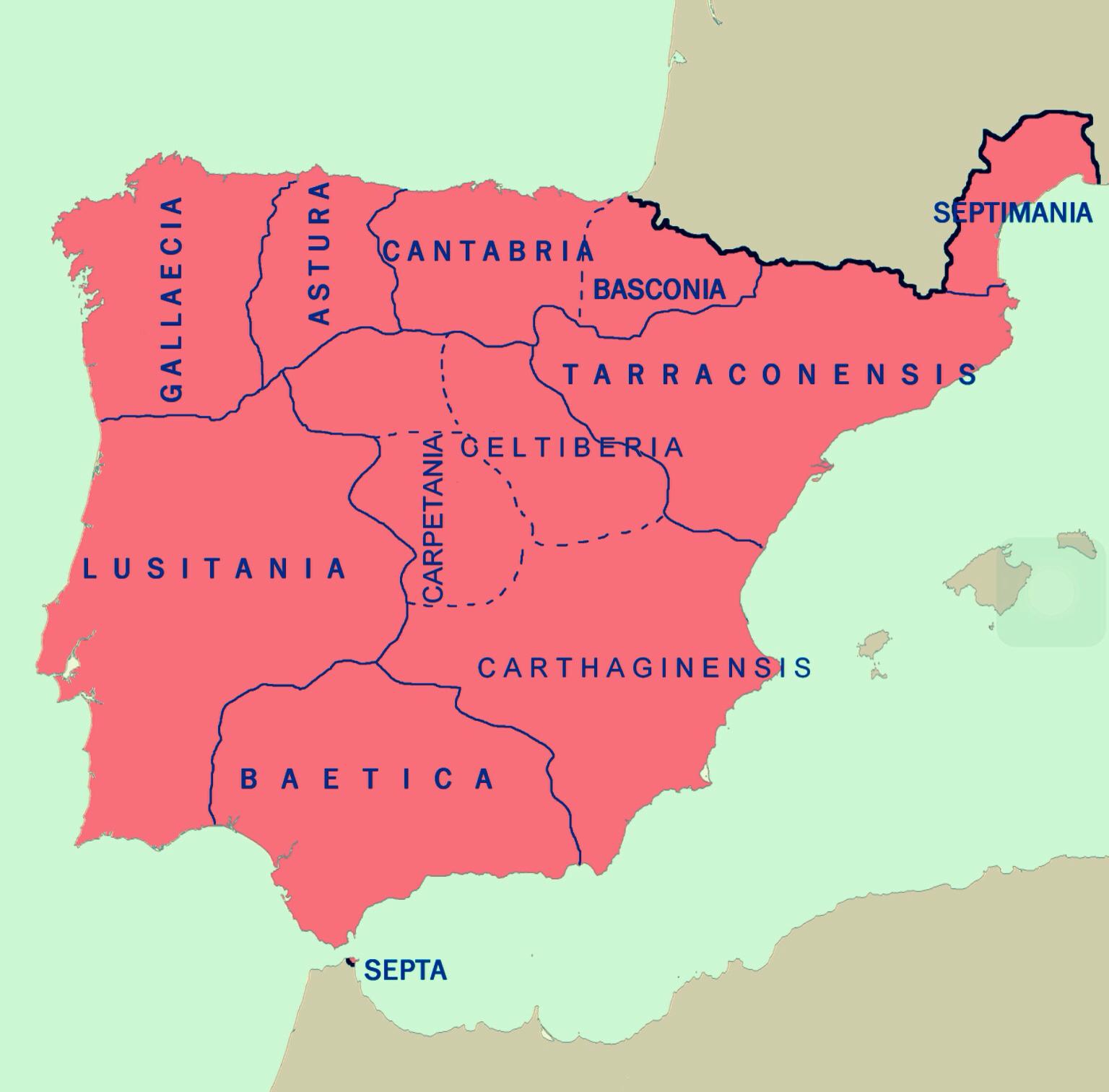 La Hispania visigoda hacia el año 700.