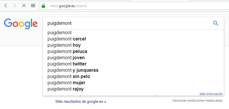 La función de autocompletar de Google sugiere que Puigdemont vaya a la cárcel (13 horas del 7 de octubre de 2017).