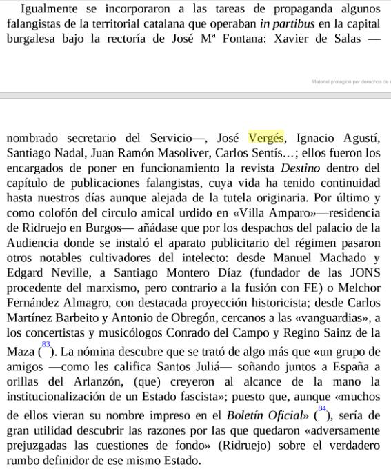 Referencia a Vergés en el libro Pleitos de familia, de José A. Baonza.